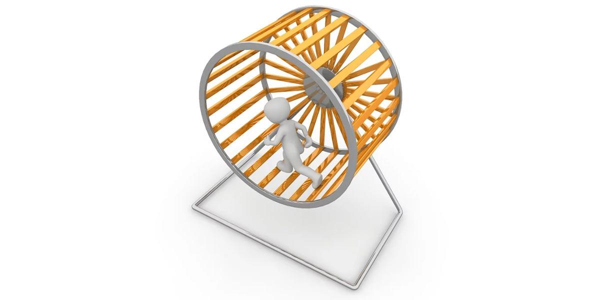 Man in a hamster wheel
